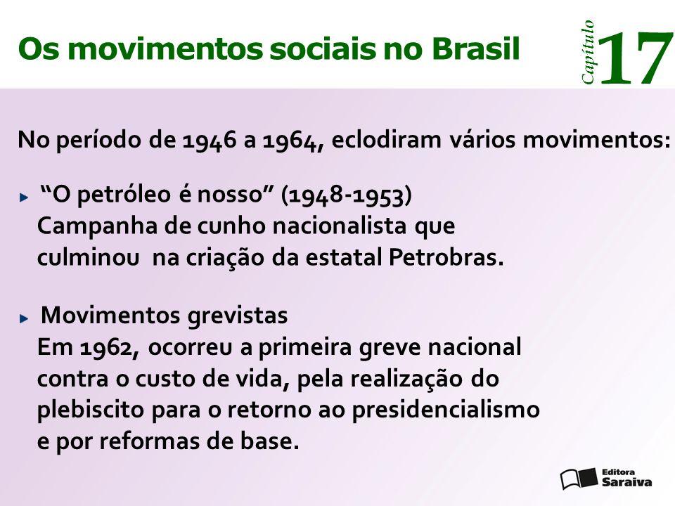 """Os movimentos sociais no Brasil 17 Capítulo No período de 1946 a 1964, eclodiram vários movimentos: """"O petróleo é nosso"""" (1948-1953) Campanha de cunho"""