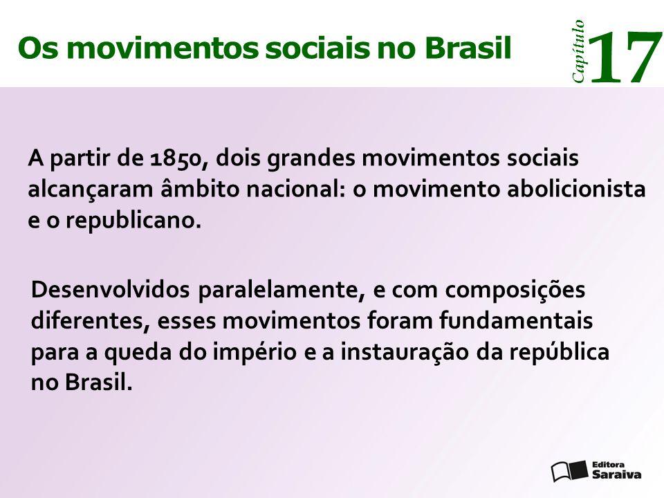 Os movimentos sociais no Brasil 17 Capítulo A partir de 1850, dois grandes movimentos sociais alcançaram âmbito nacional: o movimento abolicionista e