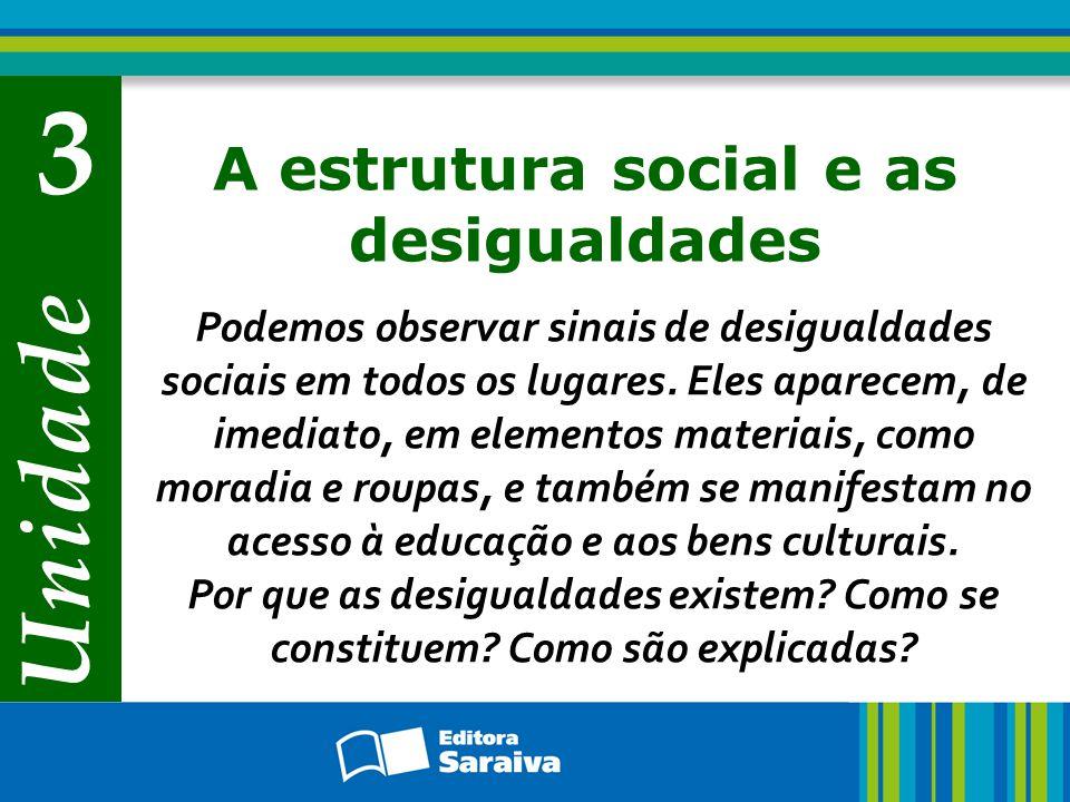 Estrutura e estratificação social Capítulo 7 A estrutura social se constitui por meio da relação entre os vários fatores – econômicos, políticos, históricos, sociais, religiosos e culturais – que dão feição própria a uma sociedade.