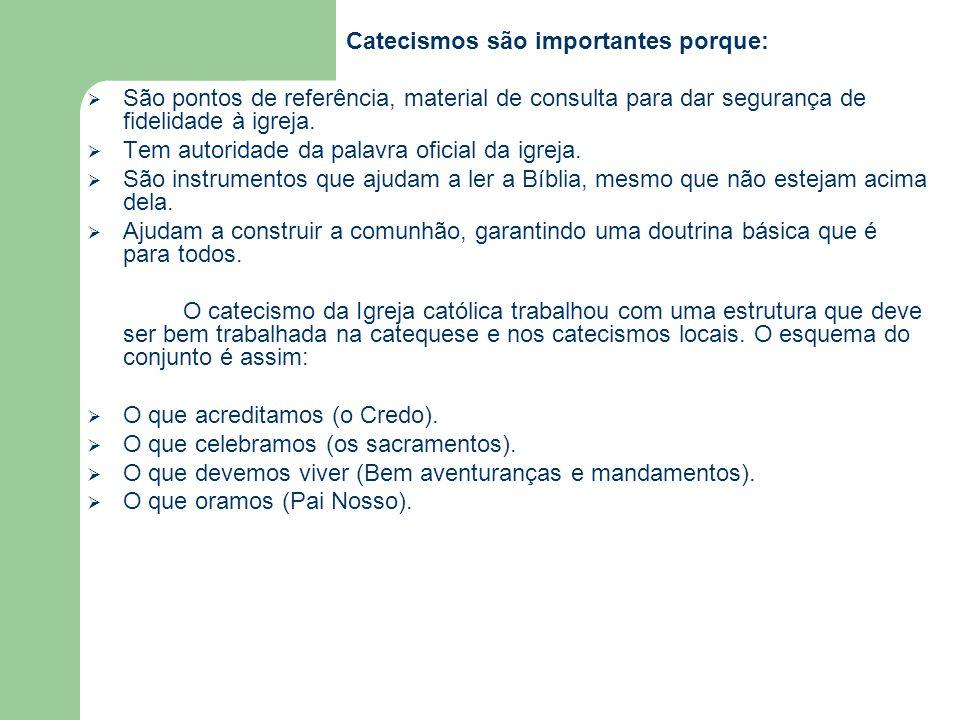 Catecismos são importantes porque:  São pontos de referência, material de consulta para dar segurança de fidelidade à igreja.