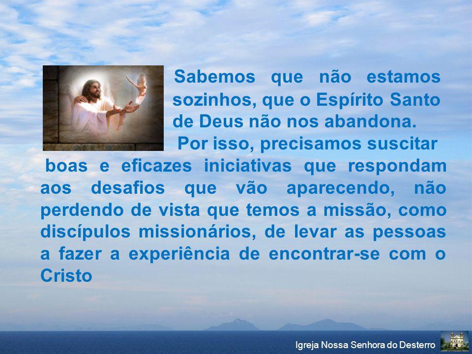 Sabemos que não estamos sozinhos, que o Espírito Santo de Deus não nos abandona. Por isso, precisamos suscitar boas e eficazes iniciativas que respond