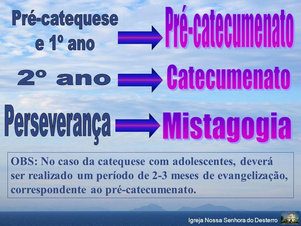 Igreja Nossa Senhora do Desterro OBS: No caso da catequese com adolescentes, deverá ser realizado um período de 2-3 meses de evangelização, correspond