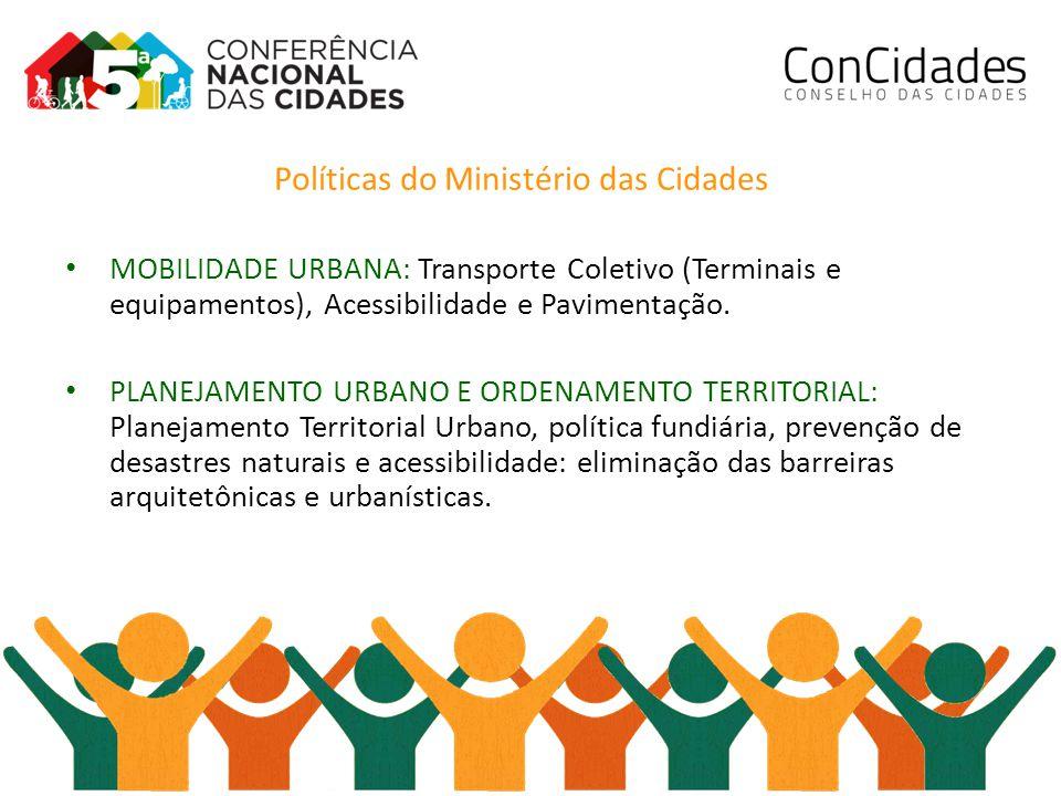 Políticas do Ministério das Cidades MOBILIDADE URBANA: Transporte Coletivo (Terminais e equipamentos), Acessibilidade e Pavimentação.