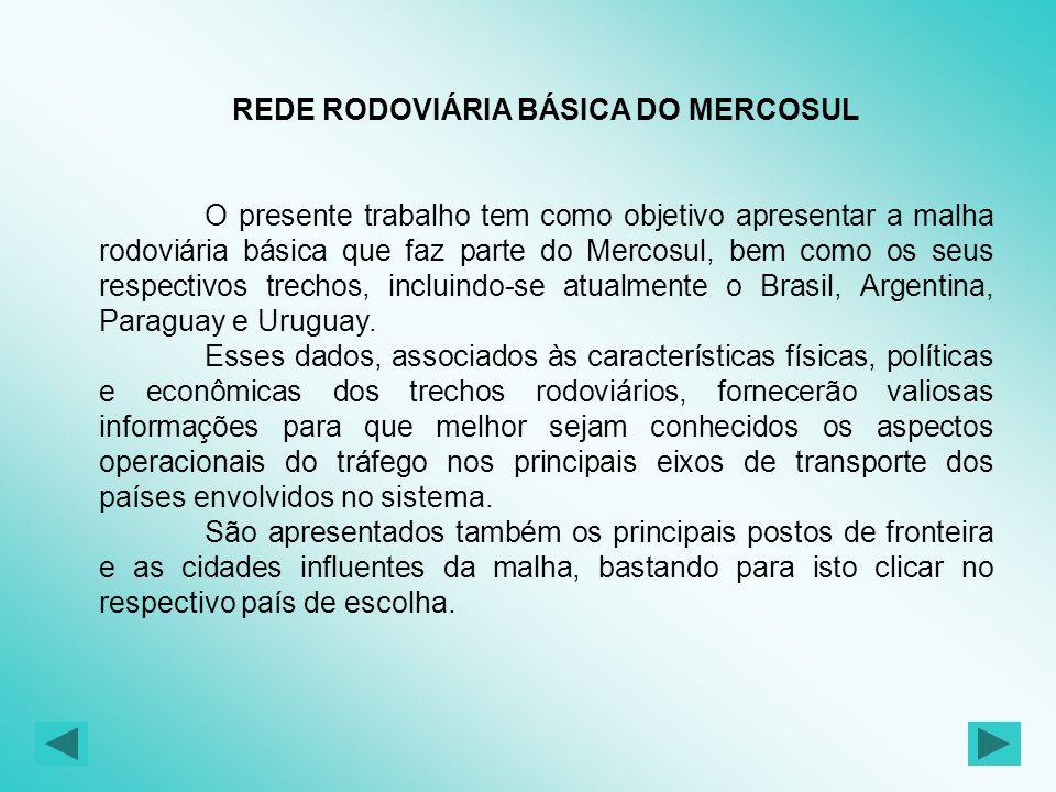 REDE RODOVIÁRIA BÁSICA DO MERCOSUL