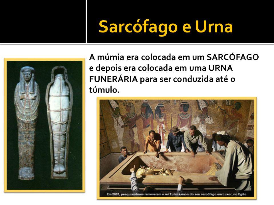 A múmia era colocada em um SARCÓFAGO e depois era colocada em uma URNA FUNERÁRIA para ser conduzida até o túmulo. Sarcófago e Urna