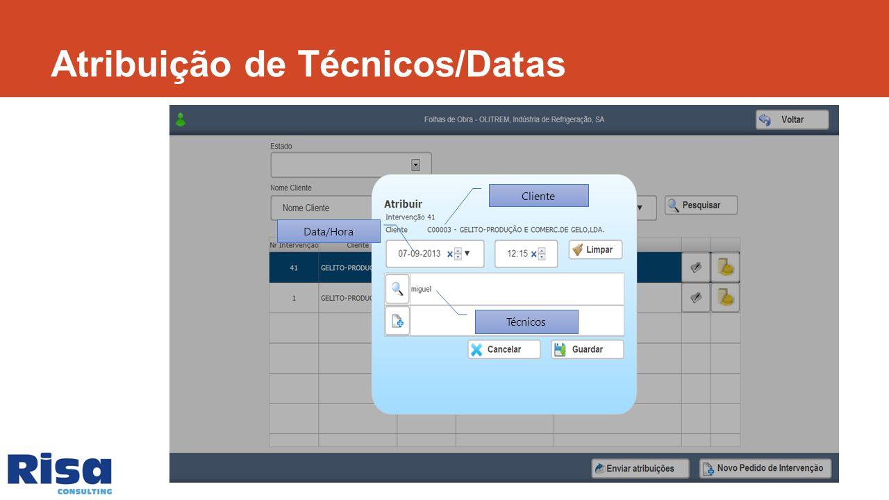 Técnicos Data/Hora Cliente Atribuição de Técnicos/Datas