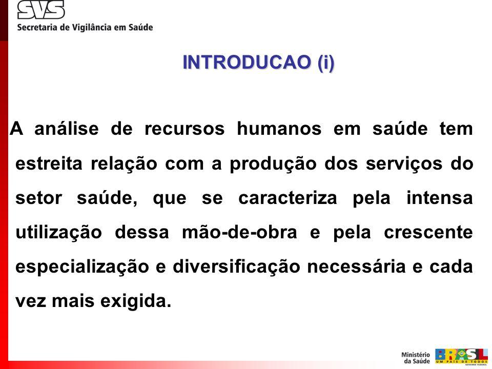 A análise de recursos humanos em saúde tem estreita relação com a produção dos serviços do setor saúde, que se caracteriza pela intensa utilização des