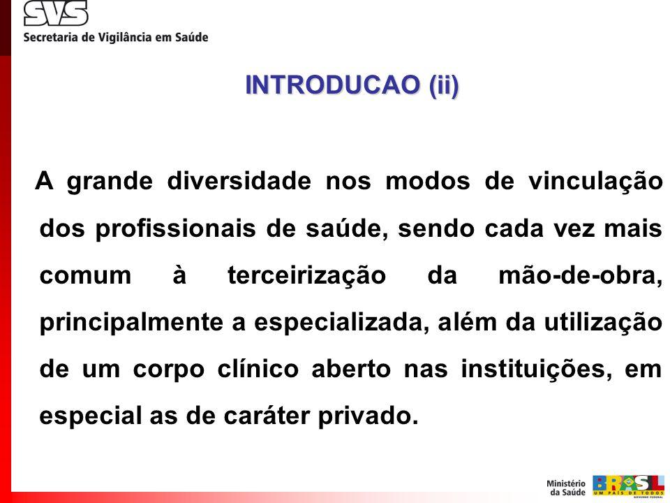 A grande diversidade nos modos de vinculação dos profissionais de saúde, sendo cada vez mais comum à terceirização da mão-de-obra, principalmente a es