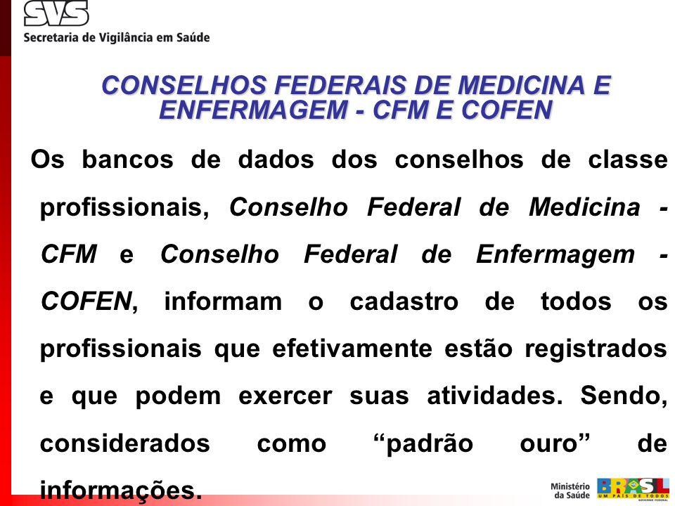 Os bancos de dados dos conselhos de classe profissionais, Conselho Federal de Medicina - CFM e Conselho Federal de Enfermagem - COFEN, informam o cada