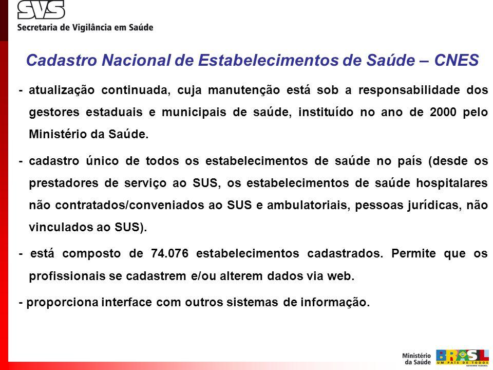 Cadastro Nacional de Estabelecimentos de Saúde – CNES - atualização continuada, cuja manutenção está sob a responsabilidade dos gestores estaduais e m