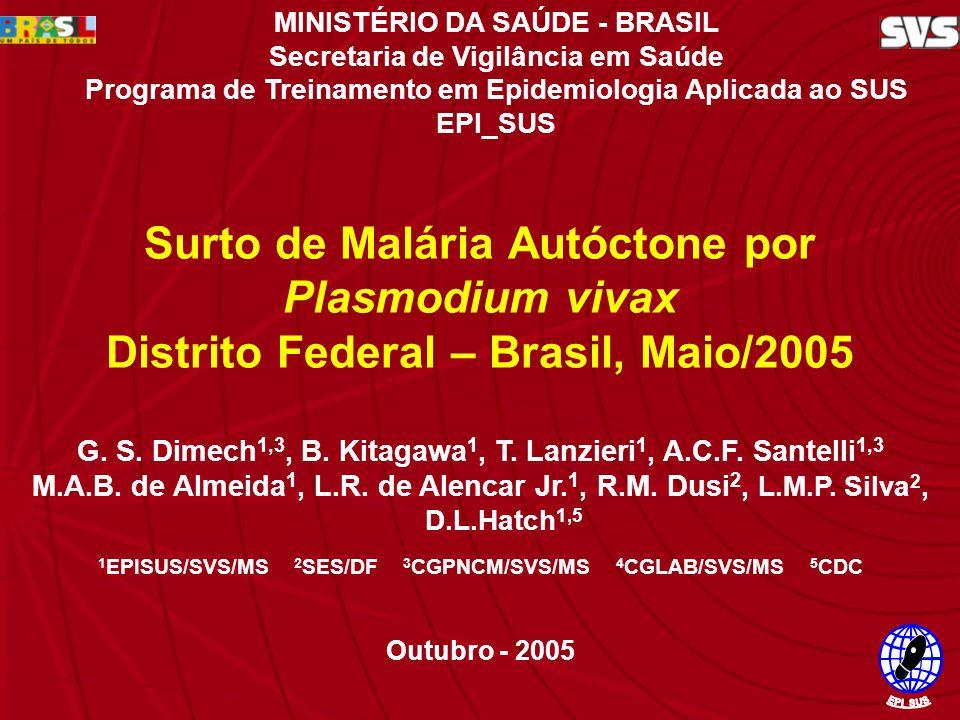 Surto de Malária Autóctone por P. vivax no DF - Maio/2005 G. S. Dimech 1,3, B. Kitagawa 1, T. Lanzieri 1, A.C.F. Santelli 1,3 M.A.B. de Almeida 1, L.R