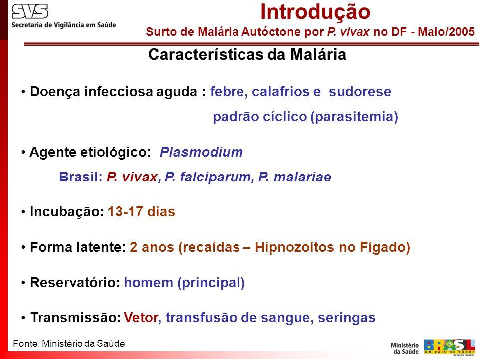 Surto de Malária Autóctone por P. vivax no DF - Maio/2005 Características da Malária Doença infecciosa aguda : febre, calafrios e sudorese padrão cícl