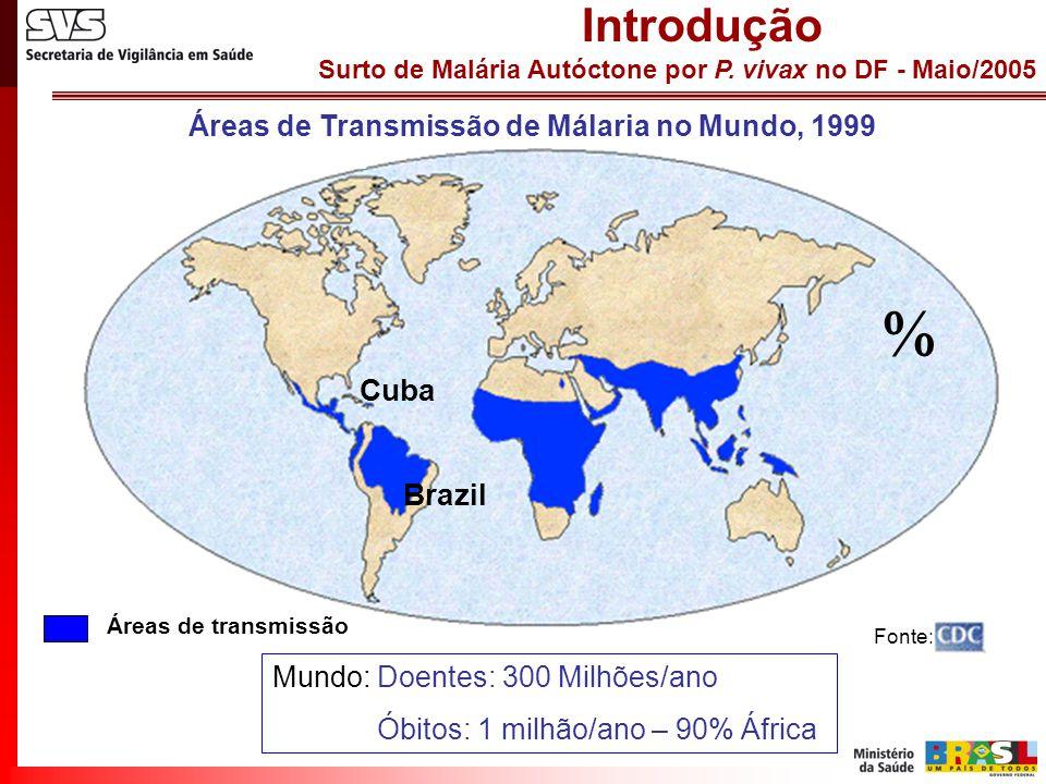 Surto de Malária Autóctone por P. vivax no DF - Maio/2005 Introdução Fonte: Áreas de transmissão Mundo: Doentes: 300 Milhões/ano Óbitos: 1 milhão/ano
