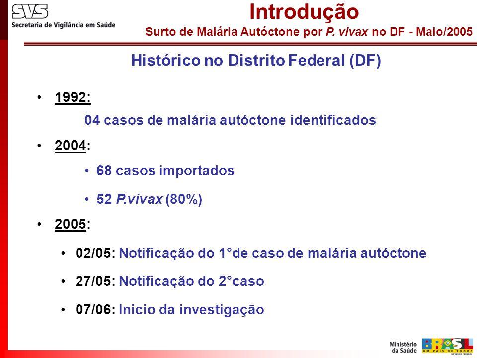 Surto de Malária Autóctone por P. vivax no DF - Maio/2005 INVESTIGAÇÃO EM DADOS SECUNDÁRIOS