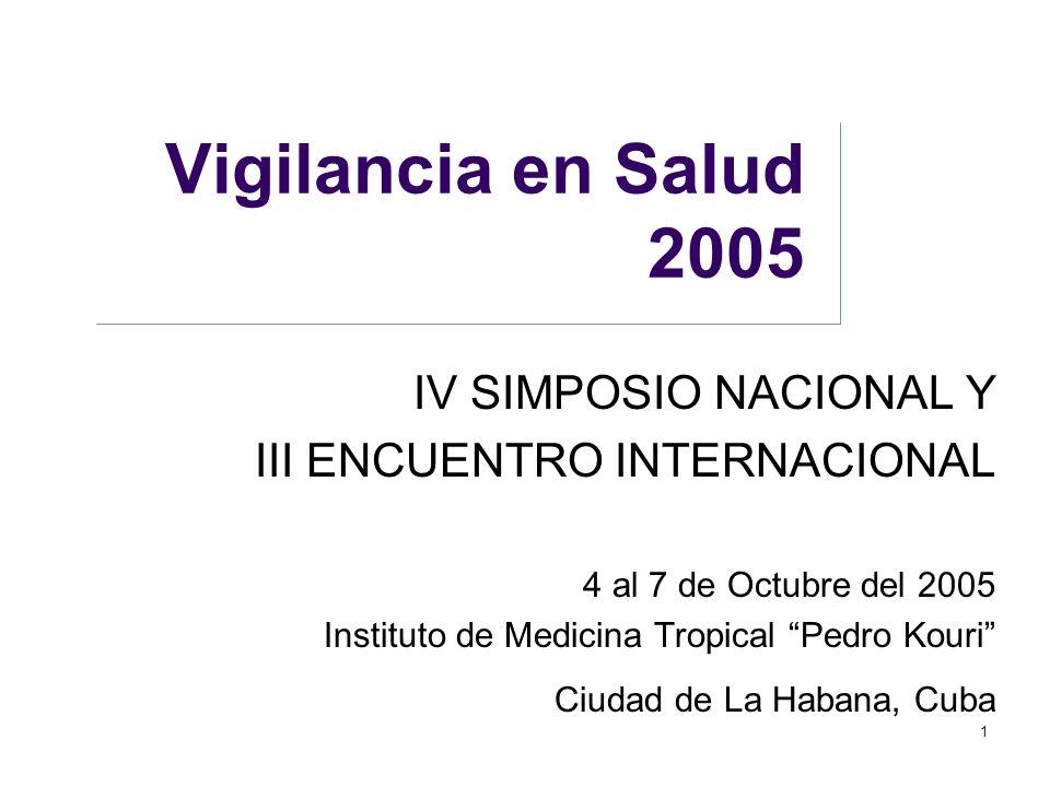 """1 Vigilancia en Salud 2005 IV SIMPOSIO NACIONAL Y III ENCUENTRO INTERNACIONAL 4 al 7 de Octubre del 2005 Instituto de Medicina Tropical """"Pedro Kouri"""""""