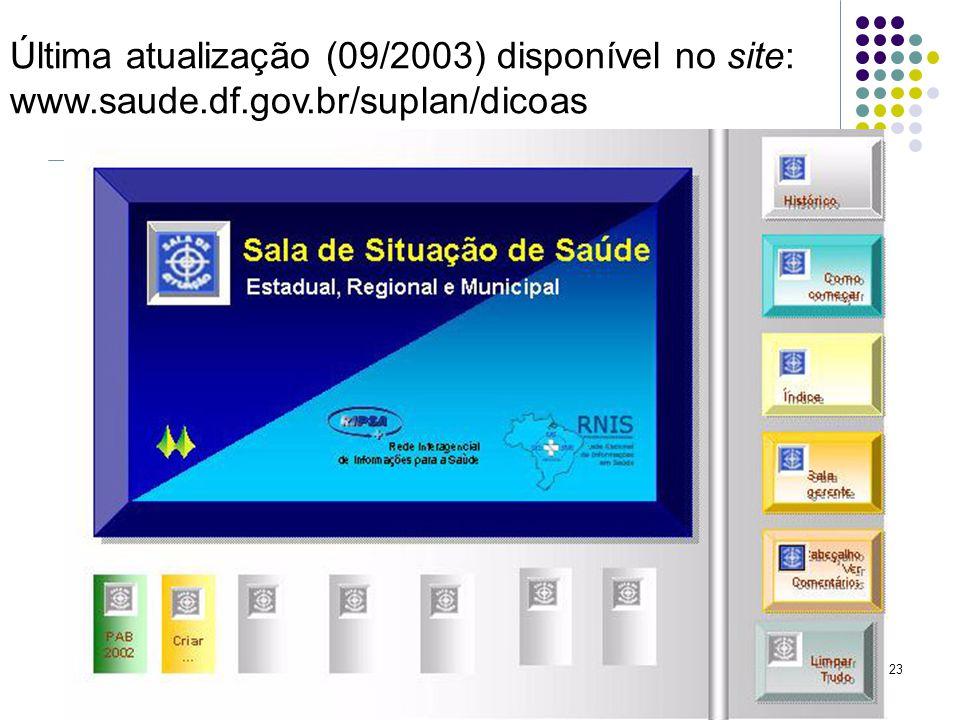 23 Última atualização (09/2003) disponível no site: www.saude.df.gov.br/suplan/dicoas