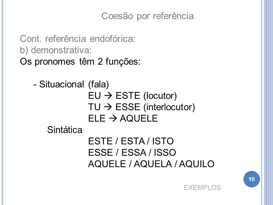 Coesão por referência Cont. referência endofórica: b) demonstrativa: Os pronomes têm 2 funções: - Situacional (fala) EU  ESTE (locutor) TU  ESSE (in