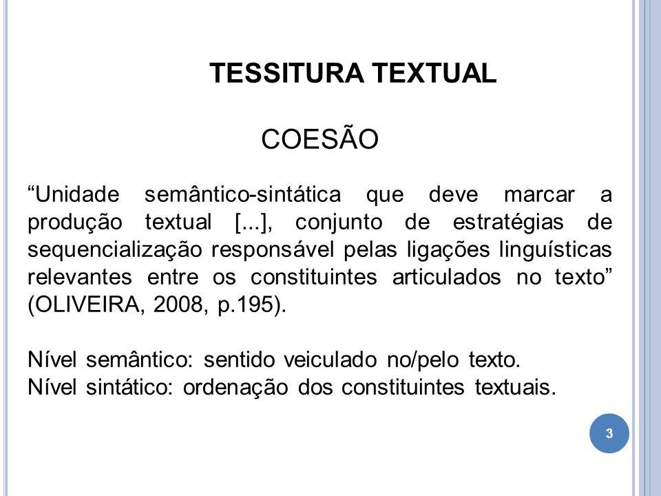 """TESSITURA TEXTUAL COESÃO """"Unidade semântico-sintática que deve marcar a produção textual [...], conjunto de estratégias de sequencialização responsáve"""