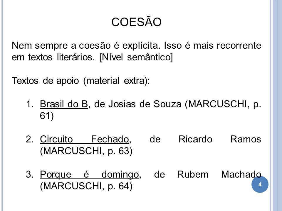 COESÃO Nem sempre a coesão é explícita. Isso é mais recorrente em textos literários. [Nível semântico] Textos de apoio (material extra): 1.Brasil do B
