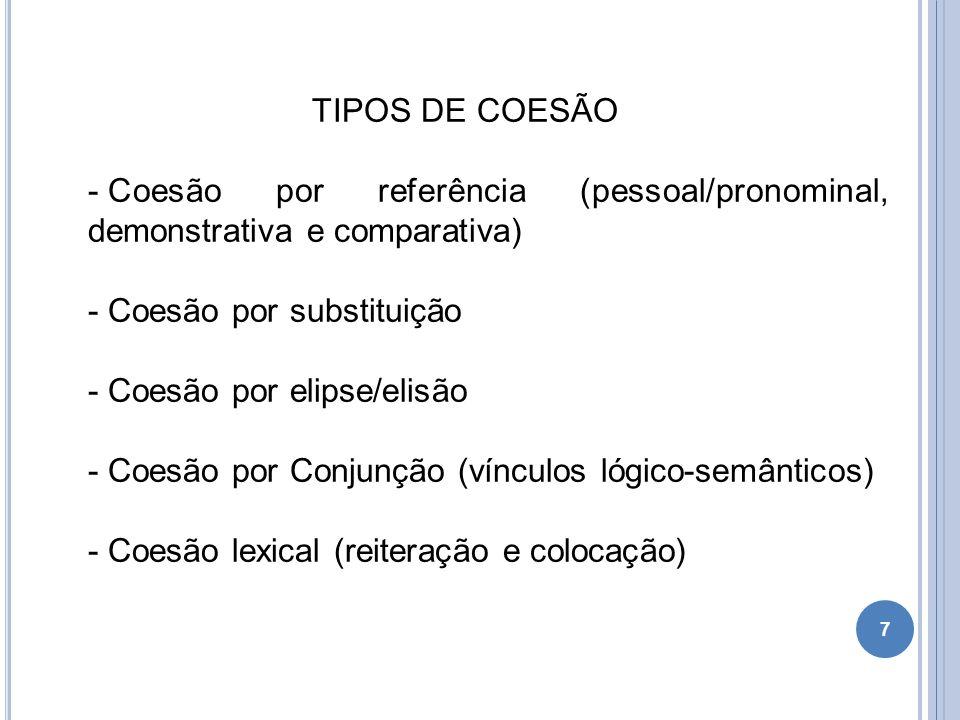 TIPOS DE COESÃO - Coesão por referência (pessoal/pronominal, demonstrativa e comparativa) - Coesão por substituição - Coesão por elipse/elisão - Coesã