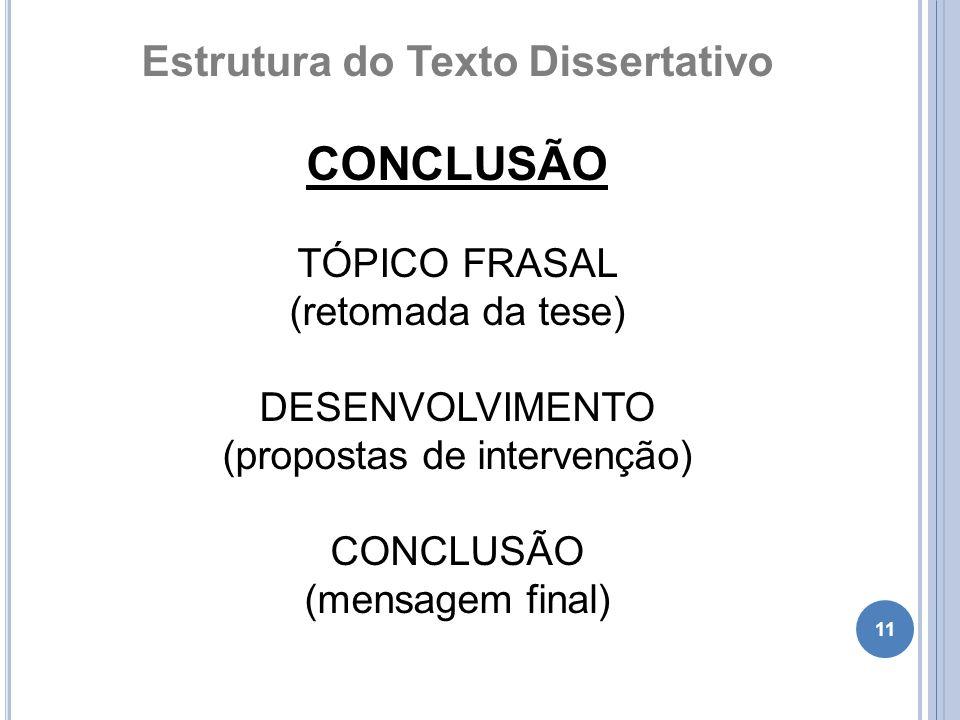 11 Estrutura do Texto Dissertativo CONCLUSÃO TÓPICO FRASAL (retomada da tese) DESENVOLVIMENTO (propostas de intervenção) CONCLUSÃO (mensagem final)