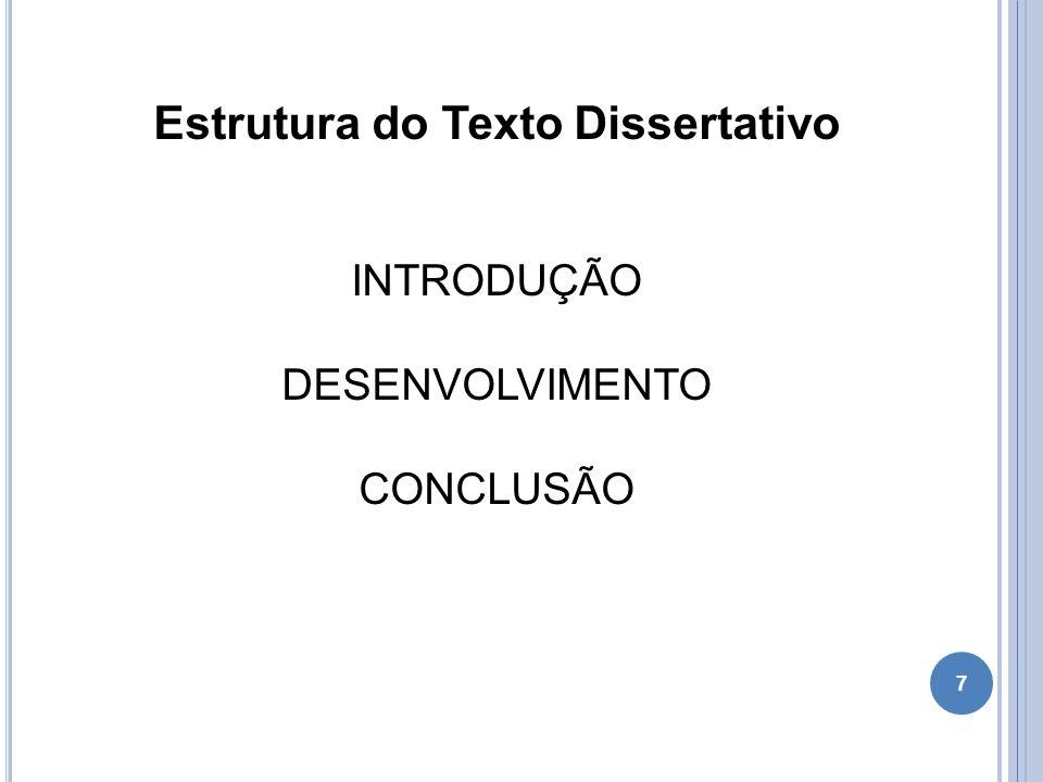 8 Estrutura do Texto Dissertativo Introdução: Apresenta a síntese do ponto de vista a ser discutido (tese).