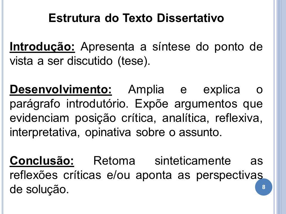 8 Estrutura do Texto Dissertativo Introdução: Apresenta a síntese do ponto de vista a ser discutido (tese). Desenvolvimento: Amplia e explica o parágr