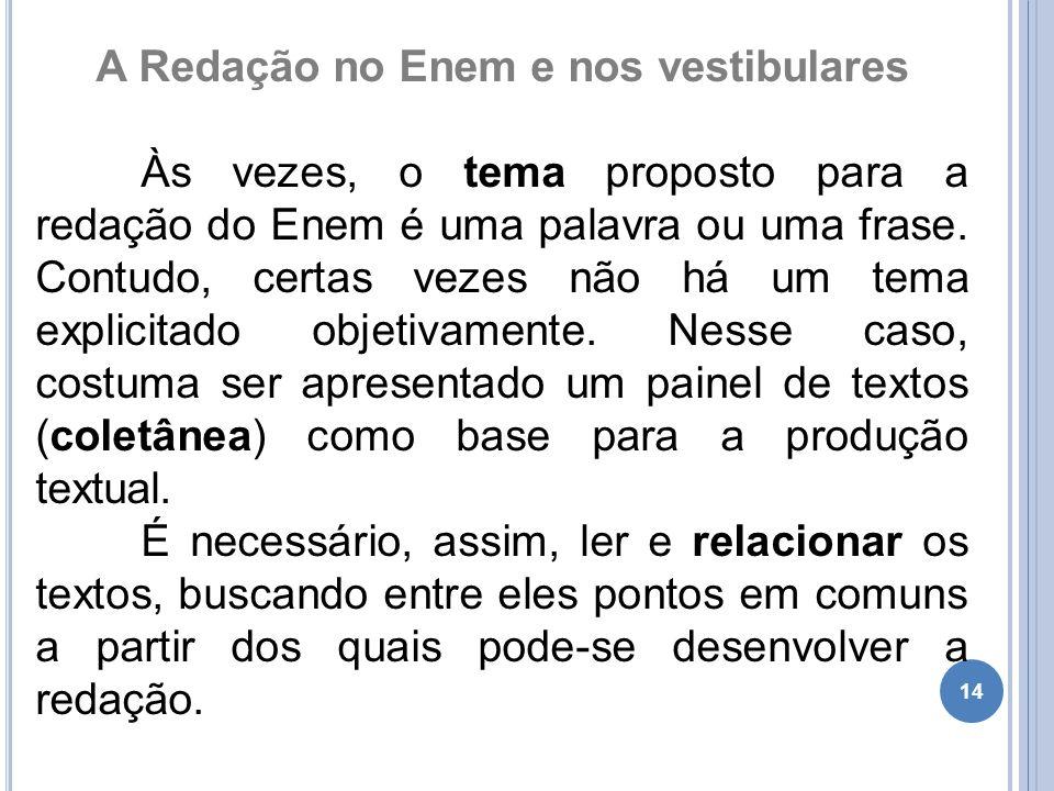 14 A Redação no Enem e nos vestibulares Às vezes, o tema proposto para a redação do Enem é uma palavra ou uma frase.