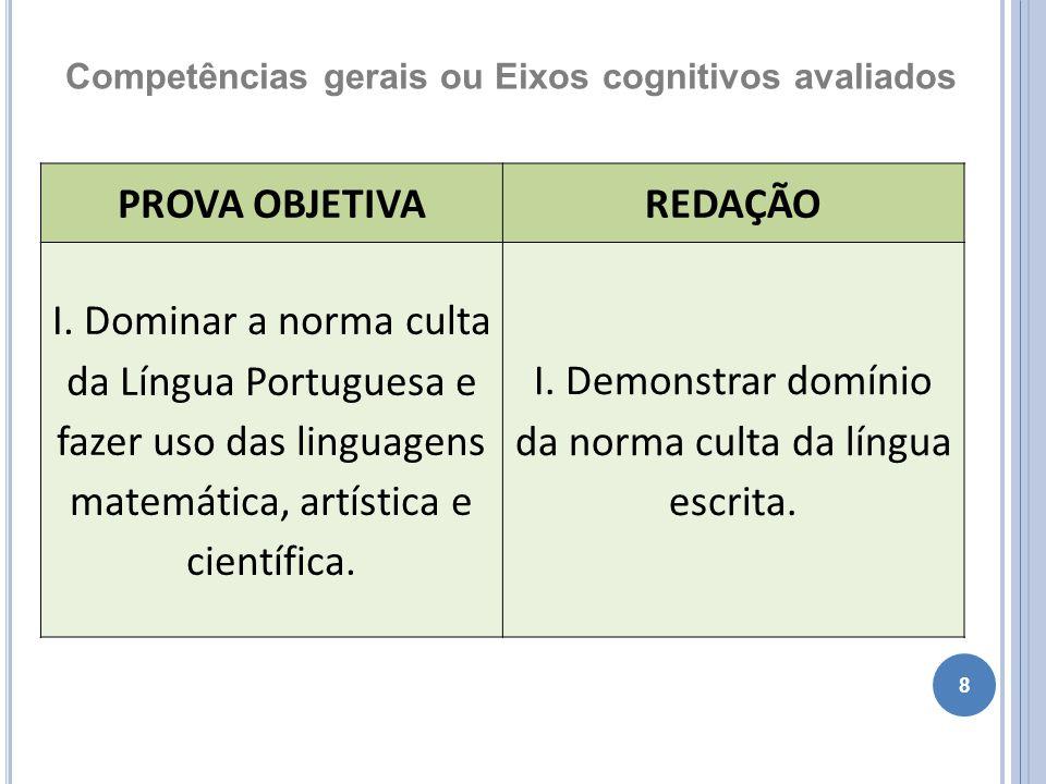 8 Competências gerais ou Eixos cognitivos avaliados PROVA OBJETIVAREDAÇÃO I. Dominar a norma culta da Língua Portuguesa e fazer uso das linguagens mat