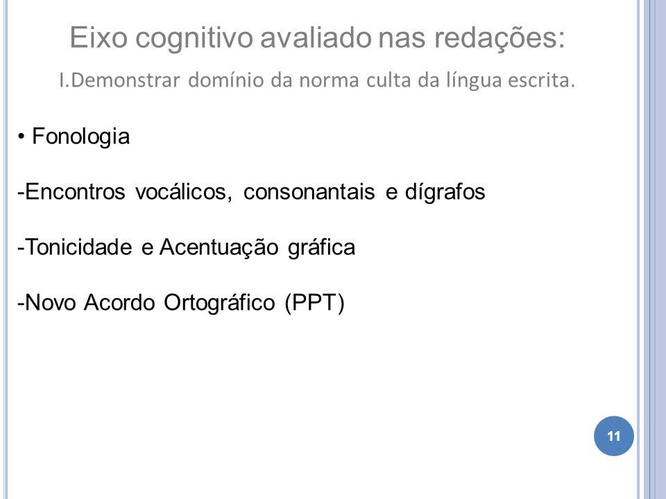 11 Eixo cognitivo avaliado nas redações: I.Demonstrar domínio da norma culta da língua escrita. Fonologia -Encontros vocálicos, consonantais e dígrafo