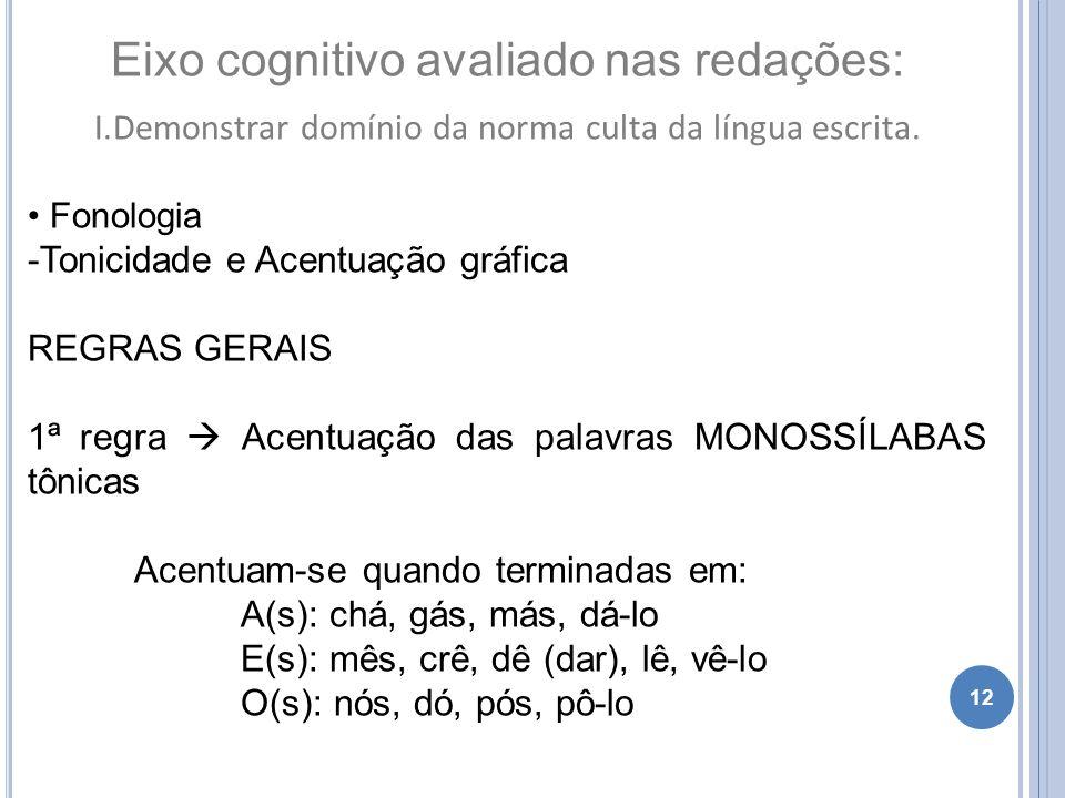 12 Eixo cognitivo avaliado nas redações: I.Demonstrar domínio da norma culta da língua escrita. Fonologia -Tonicidade e Acentuação gráfica REGRAS GERA