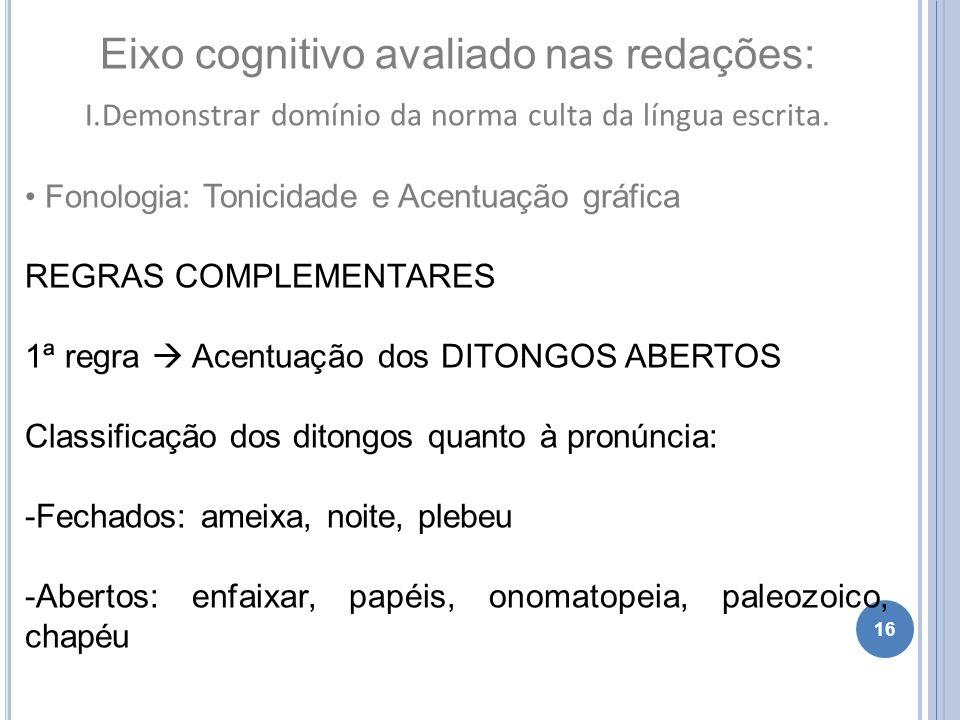 16 Eixo cognitivo avaliado nas redações: I.Demonstrar domínio da norma culta da língua escrita. Fonologia: Tonicidade e Acentuação gráfica REGRAS COMP