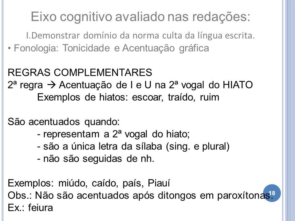 18 Eixo cognitivo avaliado nas redações: I.Demonstrar domínio da norma culta da língua escrita. Fonologia: Tonicidade e Acentuação gráfica REGRAS COMP