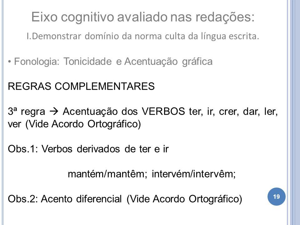 19 Eixo cognitivo avaliado nas redações: I.Demonstrar domínio da norma culta da língua escrita. Fonologia: Tonicidade e Acentuação gráfica REGRAS COMP