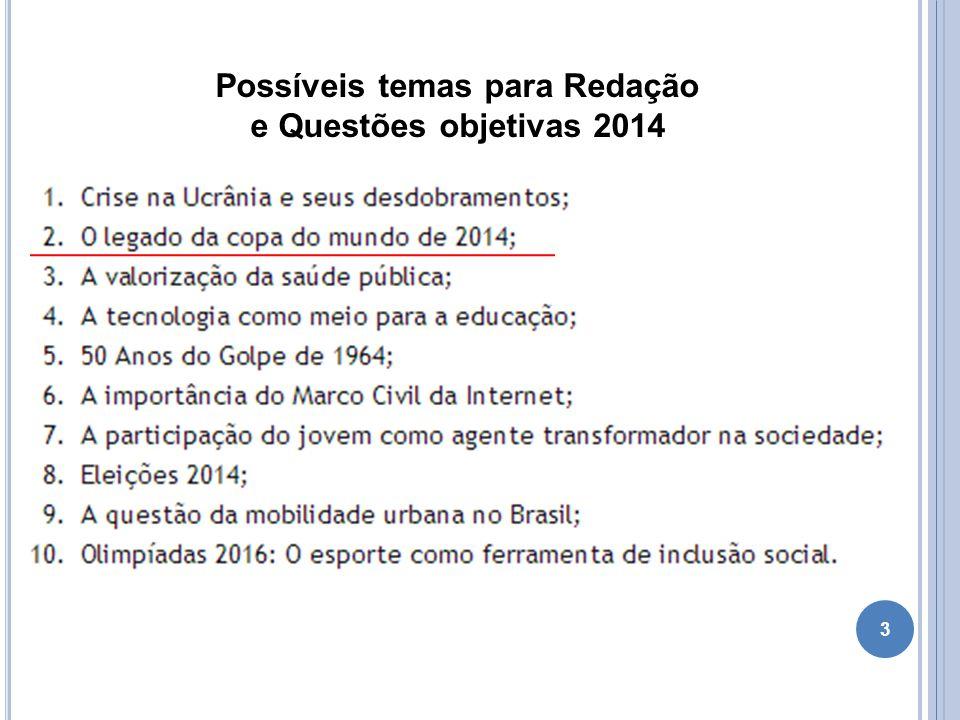 3 Possíveis temas para Redação e Questões objetivas 2014