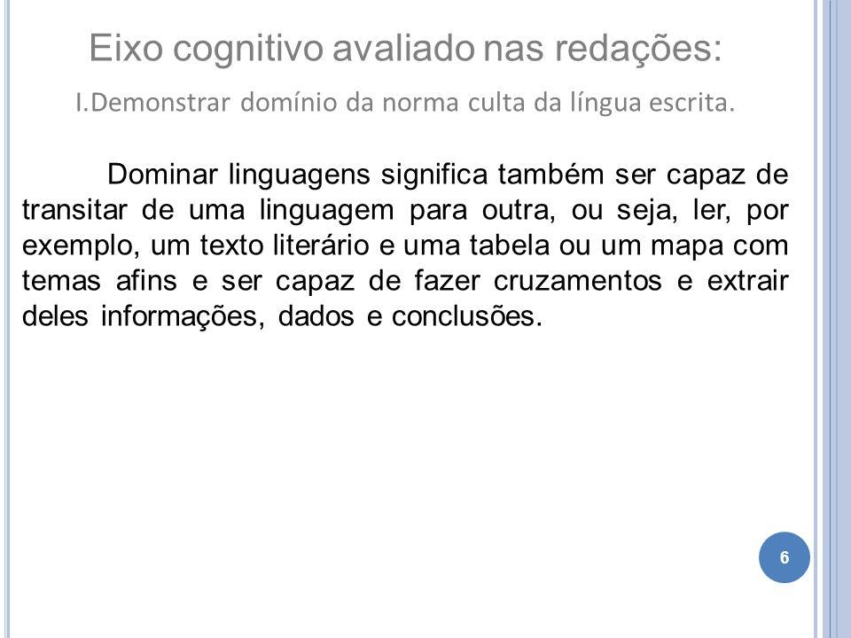 6 Eixo cognitivo avaliado nas redações: I.Demonstrar domínio da norma culta da língua escrita. Dominar linguagens significa também ser capaz de transi