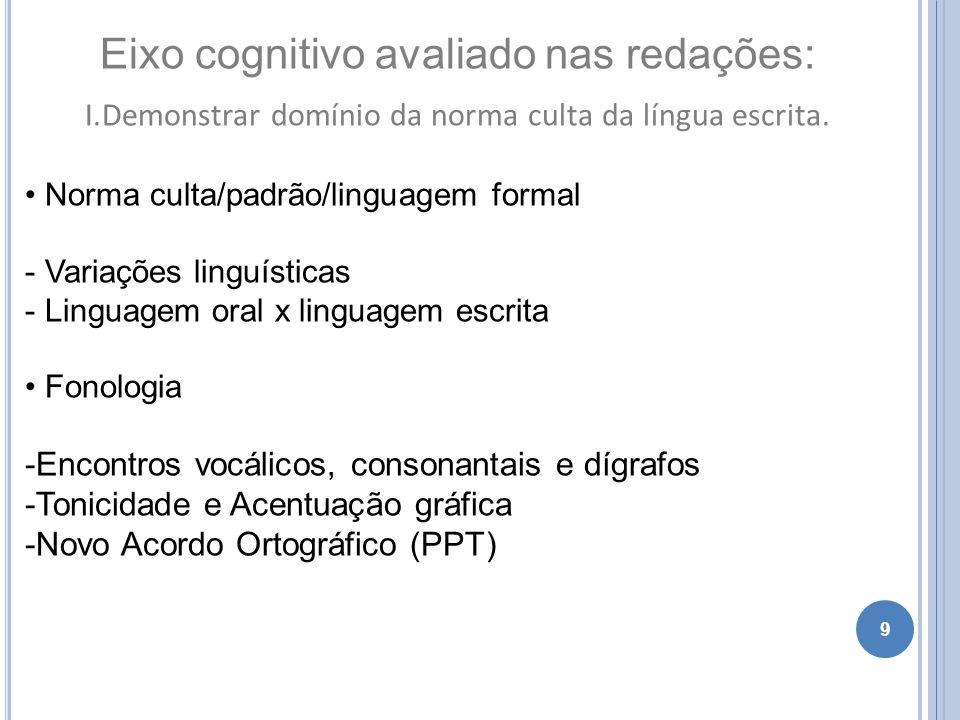 9 Eixo cognitivo avaliado nas redações: I.Demonstrar domínio da norma culta da língua escrita. Norma culta/padrão/linguagem formal - Variações linguís