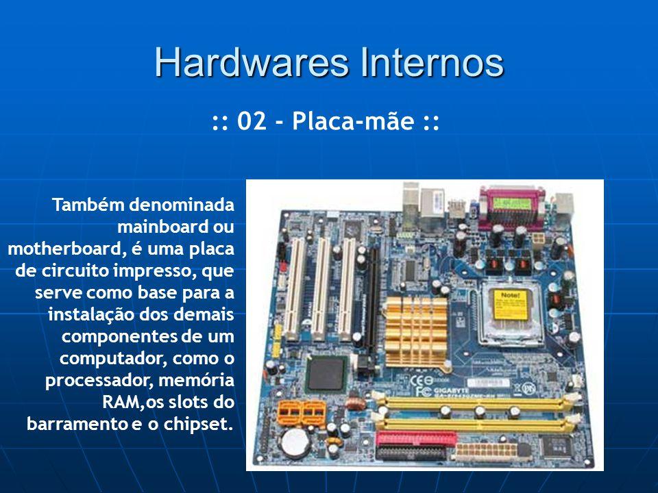 Hardwares Internos :: 02 - Placa-mãe :: Também denominada mainboard ou motherboard, é uma placa de circuito impresso, que serve como base para a instalação dos demais componentes de um computador, como o processador, memória RAM,os slots do barramento e o chipset.