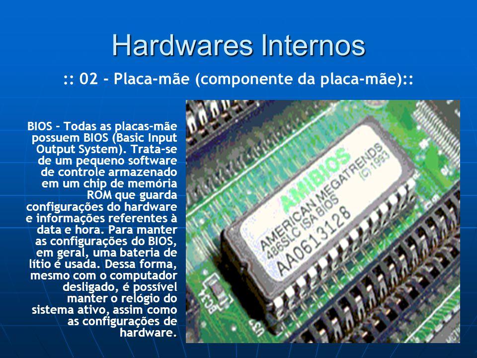 Hardwares Internos. BIOS - Todas as placas-mãe possuem BIOS (Basic Input Output System).