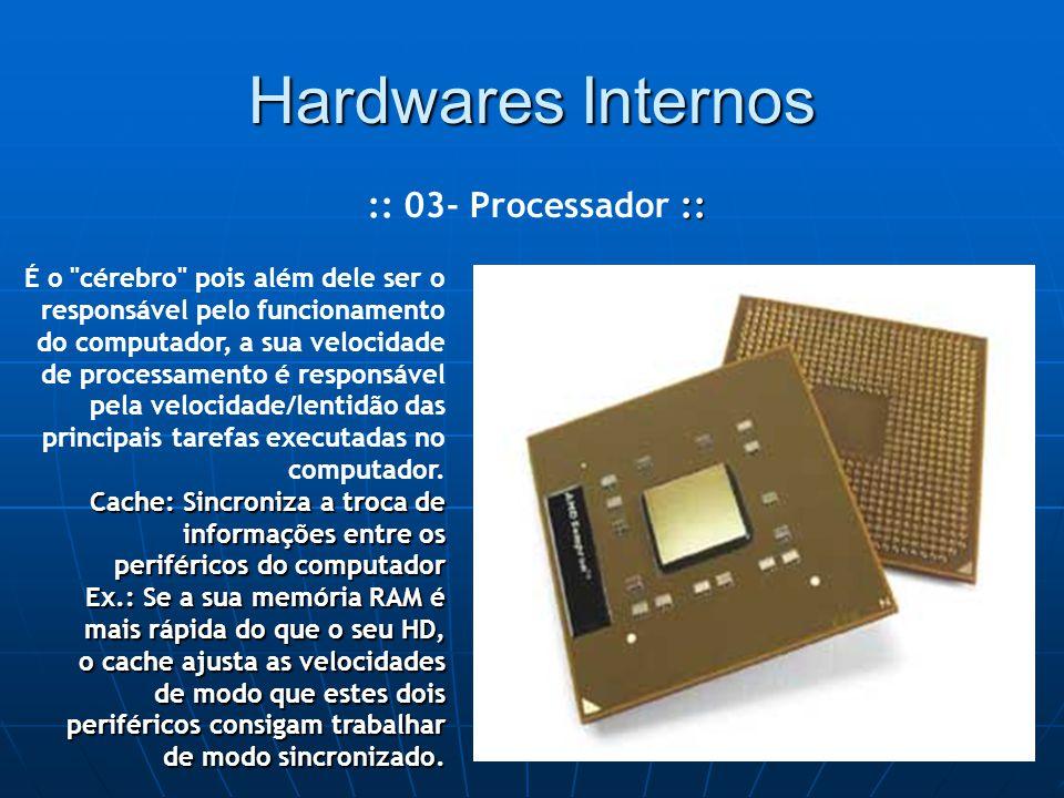 Hardwares Internos :: :: 03- Processador :: É o cérebro pois além dele ser o responsável pelo funcionamento do computador, a sua velocidade de processamento é responsável pela velocidade/lentidão das principais tarefas executadas no computador.
