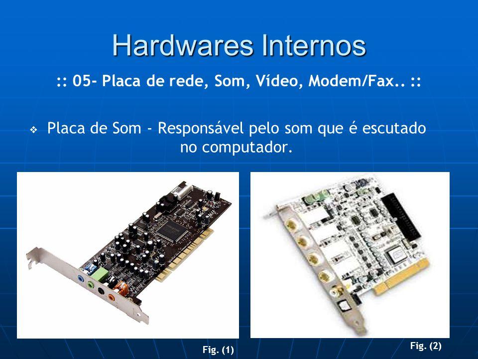 Hardwares Internos   Placa de Som - Responsável pelo som que é escutado no computador.