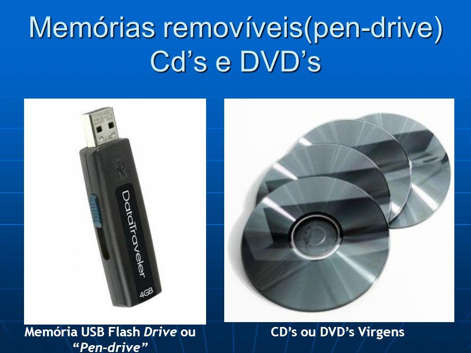 Memórias removíveis(pen-drive) Cd's e DVD's Memória USB Flash Drive ou Pen-drive CD's ou DVD's Virgens