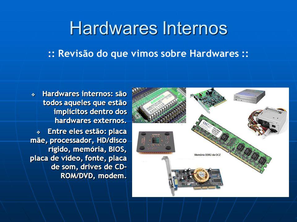 Hardwares Internos  Hardwares internos: são todos aqueles que estão implícitos dentro dos hardwares externos.