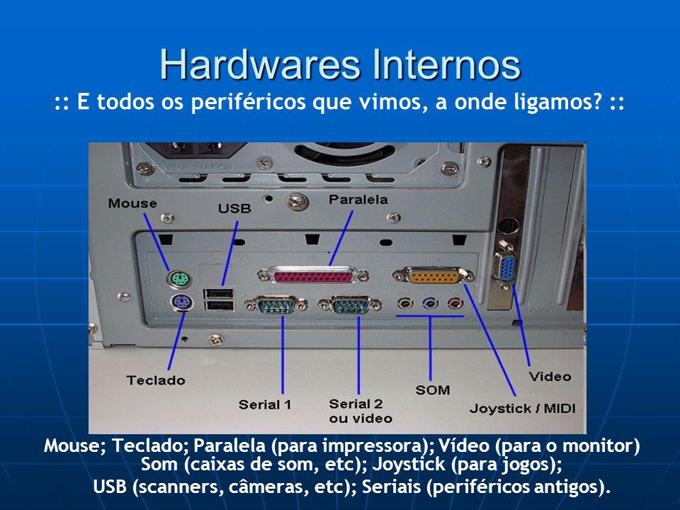 Hardwares Internos Mouse; Teclado; Paralela (para impressora); Vídeo (para o monitor) Som (caixas de som, etc); Joystick (para jogos); USB (scanners, câmeras, etc); Seriais (periféricos antigos).