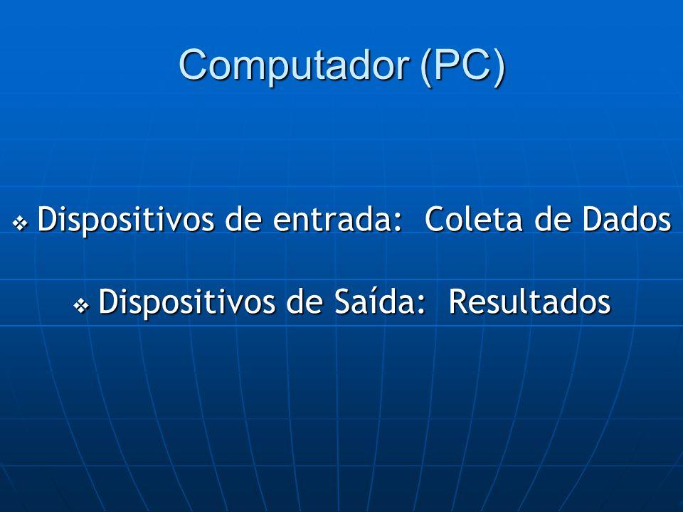 Computador (PC)  Dispositivos de entrada: Coleta de Dados  Dispositivos de Saída: Resultados