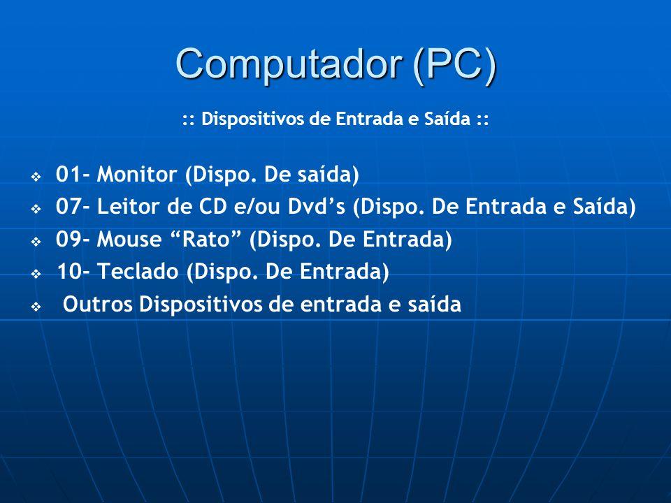 Computador (PC)   01- Monitor (Dispo. De saída)    07- Leitor de CD e/ou Dvd's (Dispo.