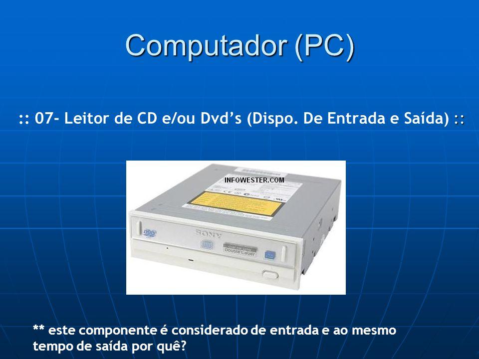 Computador (PC) :: :: 07- Leitor de CD e/ou Dvd's (Dispo.