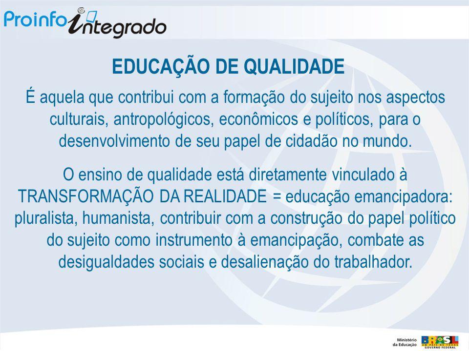 EDUCAÇÃO DE QUALIDADE É aquela que contribui com a formação do sujeito nos aspectos culturais, antropológicos, econômicos e políticos, para o desenvolvimento de seu papel de cidadão no mundo.