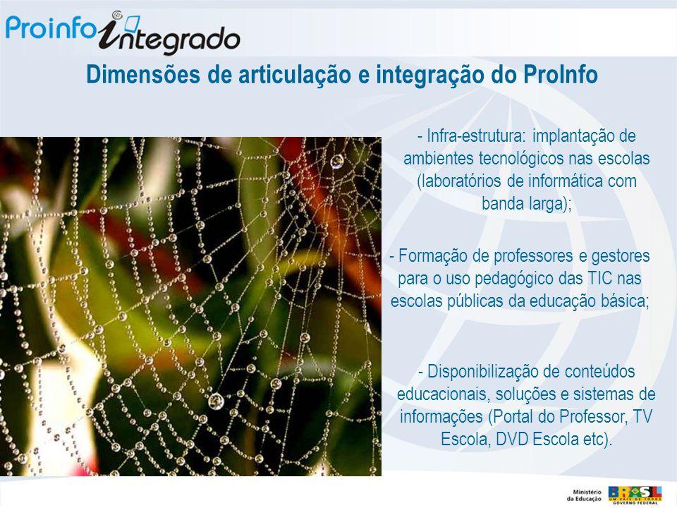 - Infra-estrutura: implantação de ambientes tecnológicos nas escolas (laboratórios de informática com banda larga); - Formação de professores e gestor