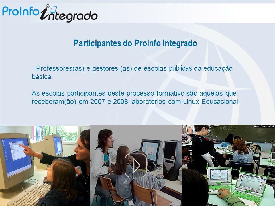 Participantes do Proinfo Integrado - Professores(as) e gestores (as) de escolas públicas da educação básica. As escolas participantes deste processo f